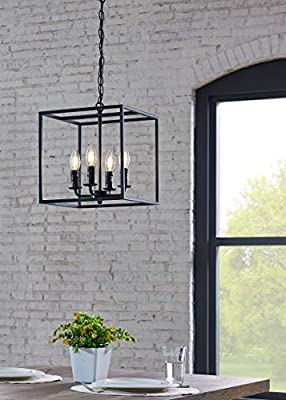 BELLEZE Industrial 4 Lights Pendant Chandelier with Square Metal Cage in Open Bulb Style, Hanging Ceiling Light Fixture