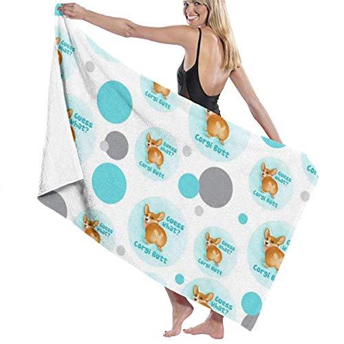 Guess What Corgi Butt Toalla de baño Manta de secado rápido para viajes, natación, piscina, gimnasio, deporte, 80 x 130 cm