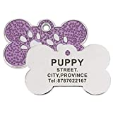 Etiqueta de identificación de mascotas Grabado personalizado Etiquetas de nombre de perro y gato Accesorios para collar Placa de identificación personalizada Colgante con llavero-Púrpura-Estánd