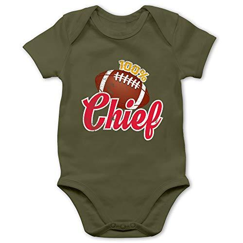 Sport Baby - 100{02533f9eeba5823d1a0bb98b68209852de90bffc733eab01c24a6b7cb73dd8c8} Chief - 3/6 Monate - Olivgrün - Statement - BZ10 - Baby Body Kurzarm für Jungen und Mädchen