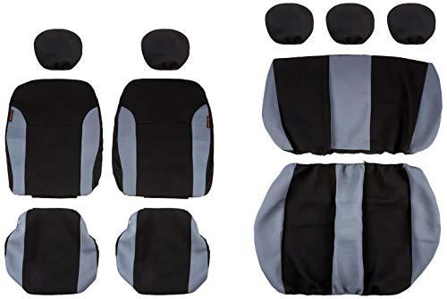 akhan-tuning SB101 - Cubierta de Asiento de Coche, Protector Asiento de Coche, Fundas para Asientos de Coche con airbag Lateral Negro/Gris