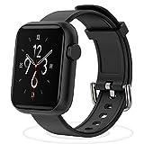 Smartwatch Fitness Tracker - mit Pulsuhren Smart Watch Schrittzähler Schlafmonitor SMS-Anrufbenachrichtigung mehrere Sportmodi für Damen Herren Kinder mit Herzfrequenz Schlaftracker (Schwarz)