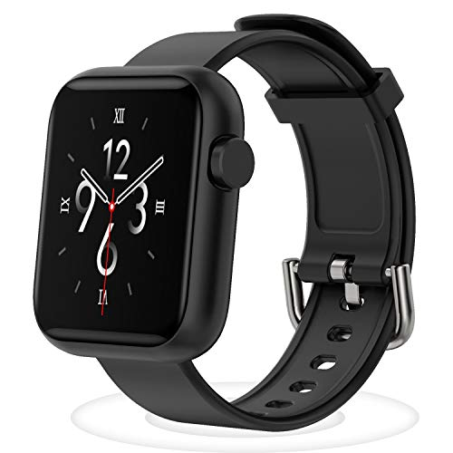Smartwatch Fitness Tracker - Armband mit Pulsuhren Smart Watch Schrittzähler Schlafmonitor SMS-Anrufbenachrichtigung mehrere Sportmodi für Damen Herren Kinder mit Herzfrequenz Schlaftracker (Schwarz)