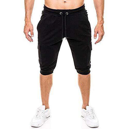 TEBAISE Herren 3/4 Sporthose Sommer Outdoor Cargo Shorts Baumwolle Multi-Tasche Bermuda Casual Vintage Kurze Hose Sommerhose Knielänge Hosen (Schwarz,3XL)