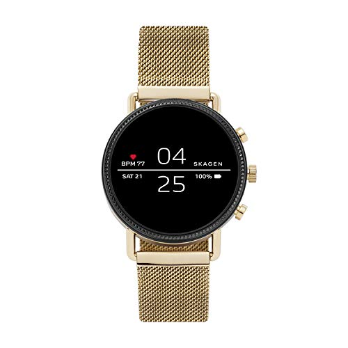 Skagen Connected Falster 2 Stainless Steel Magnetic Mesh Touchscreen Smartwatch, Color: Gold (Model: SKT5111)
