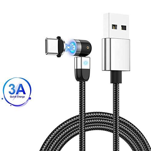 Cavo di ricarica magnetico di tipo C, rotazione a 360°e 180 °(3.3ft/1m) 3A Cavo di ricarica USB USB C a trasferimento rapido di dati , per Samsung Galaxy S10 S9 S8 Plus Nota 9 8, Moto Z Argento
