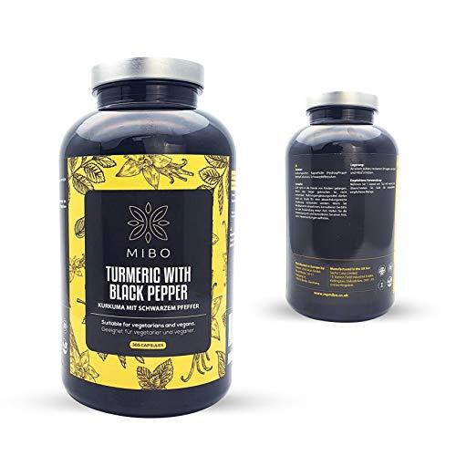 Turmeric and Black Pepper - 600mg & 5mg - 365 Capsules - Suitable for Vegans