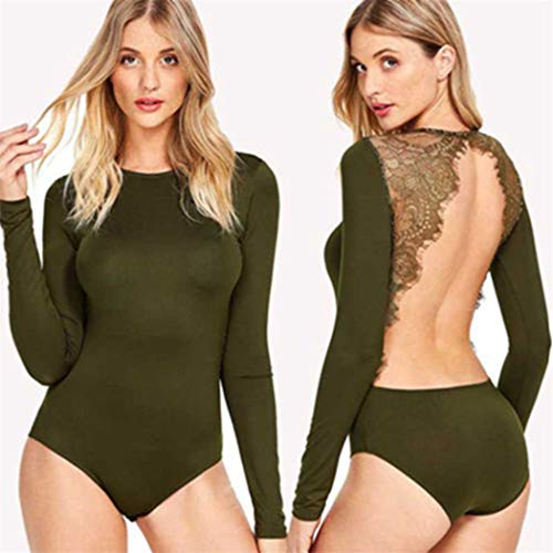 Why Choose Trendy New Women Sexy Jumpsuit Bodycon Backless Long Sleeve Cotton Bodysuit Party Club Pl...