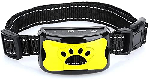 Antibell Halsband Hund, Wiederaufladbares No Harm Erziehungshalsband Hund mit Vibration, Sound und No-Schock für Kleine Mittelgroße Hunde Gelb