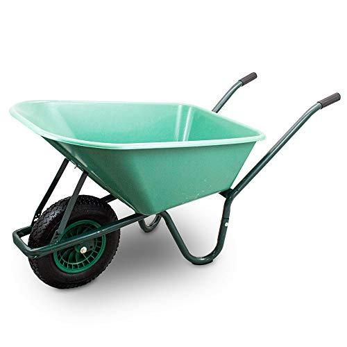 BITUXX Schubkarre 100L Schubkarren Schiebkarre Bauschubkarre mit PVC Wanne und Luftreifen bis 250kg (Schubkarre mit PVC Mulde)