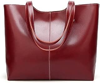 Leather New Women's Handbag Soft Leather Slanting Fashion Retro Wind Handbag Large Female Wallet Large Capacity Waterproof (Color : Red, Size : M)