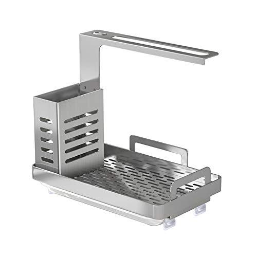 UNIE Organizador para fregadero de cocina, de acero inoxidable, con escurridor, con soporte para cepillo de jabón y bandeja de drenaje para organizar la encimera de la cocina