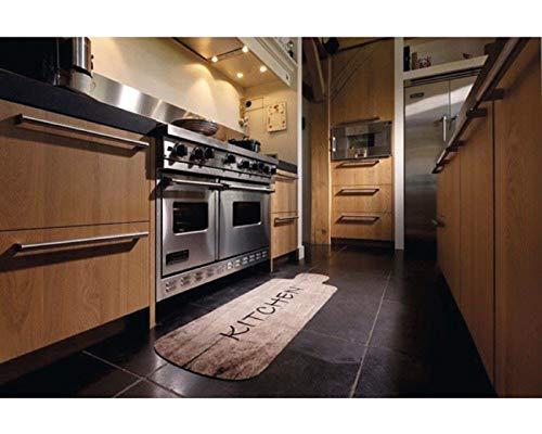 Keukenloper landhuisstijl keuken hout-look voor uw keuken | wasbaar, antislip | Keuken Deco tapijt afmeting 50 x 150 cm bruin