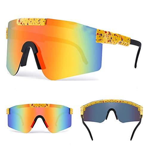 Prevessel Gafas de Sol Deportivas Polarizadas, Protección UV, Gafas de Ciclismo, Gafas de Sol Unisex para Exteriores, Montura Superligera Tr90 para Ciclismo, Pesca, Correr, Conducir, Esquiar, Golf