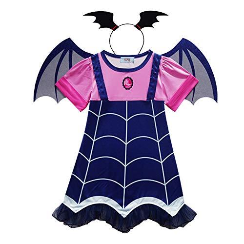 ZSGG Disfraz de Vampirina para Niños Niñas Lindas Cosplay de Halloween Disfraz de Vampiro Vestido de Dibujos Animados + Banda para El Cabello + Ala La Elección Perfecta para Niñas