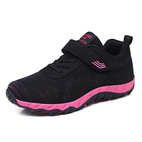 Femme Chaussure de Marche Maman Souple Sneaker de Textile Respirant Plate Chaussure de Casual Tendance Léger Confortable Noir Rose 37