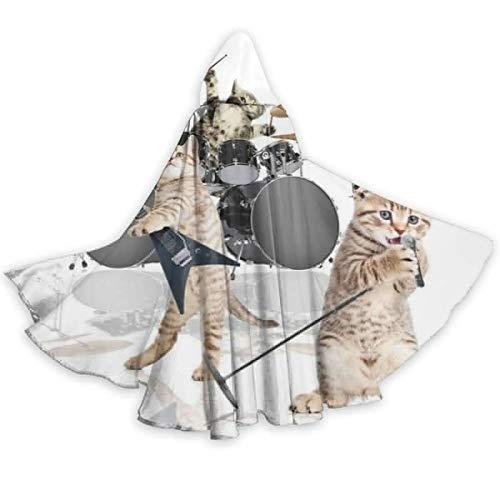 Zome Lag Capa De Capa para Adultos Rocker Band of Kittens Cantante Guitarrista Gatos Capa Unisex con Capucha Capa para Halloween Fiesta De Navidad Disfraces De Cosplay