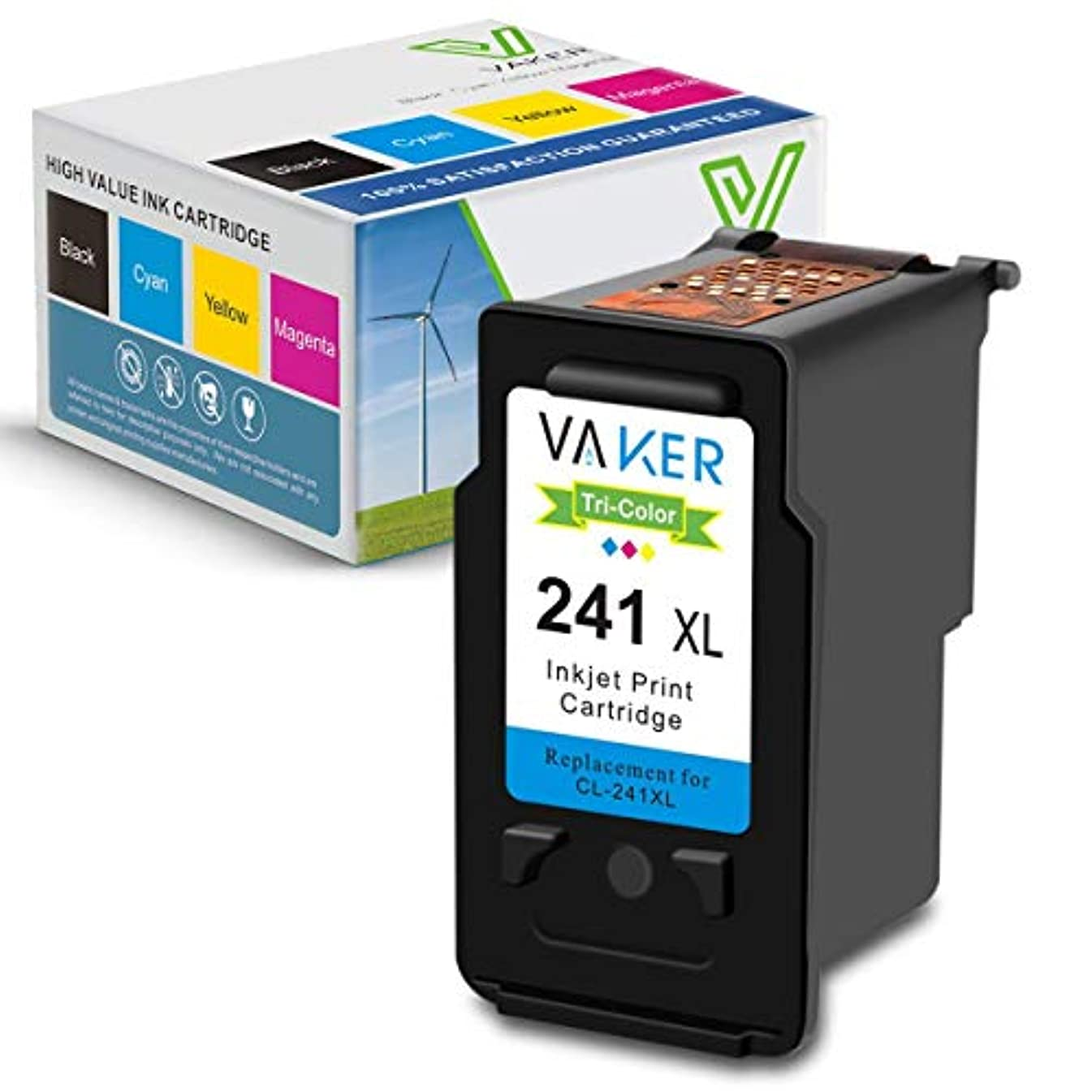 VAKER Remanufactured Ink Cartridge Replacement for Canon CL-241XL 241 XL Used in PIXMA MG3620 MX472 MX452 MG2220 MG3220 MG3520 MG3522 MG2120 MX392 MX432 MX512 MX532 MX522 TS5120 (1 Tri-Color)