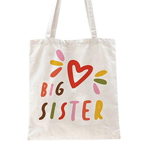 Ihopes Big Sister Reusable Tote Bag | Cute Big Sister Canvas Tote Bag Gifts for Girls Daughter Sister | Perfect birthday gifts/Birth Announcement/New Pregnancy Gift