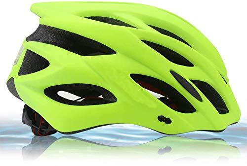 Zamelux Casco para Bicicleta Patinete con luz de Seguridad con Visera Ajustable Hombre Mujer Adulto (Amarillo)