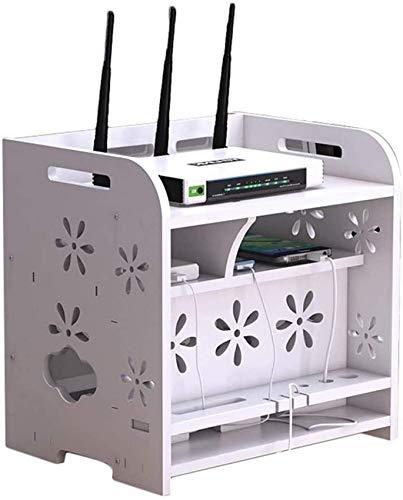 HYLX Almacenamiento Creativo, Caja de Almacenamiento de enrutador WiFi Blanco, decodificador de Escritorio de Oficina, Caja de blindaje, Caja de clasificación de Fila de Cables, Caja Decorativa Doble
