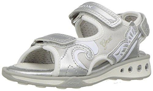 Geox Girls' JR JOCKERGIRL 8 Sneaker, Silver/White, 28 BR/10.5 M US Little Kid