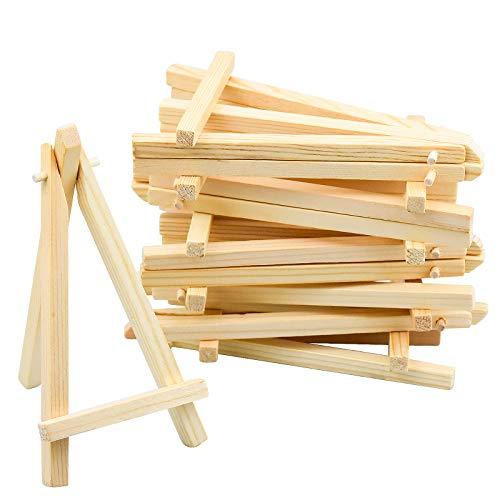 Kupink 20 mini caballete triangular para marcos de fotos, expositor pequeño, caballete de mesa, de madera, para bodas, Navidad o fiestas