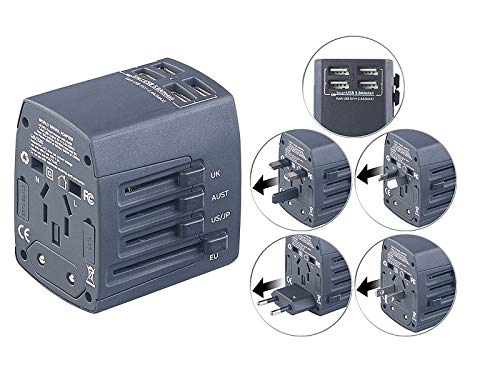 revolt Stromadapter: 3in1-Universal-Welt-Reisestecker mit 4 USB-Ladeports, 5 A, 25 Watt (Weltreisestecker)
