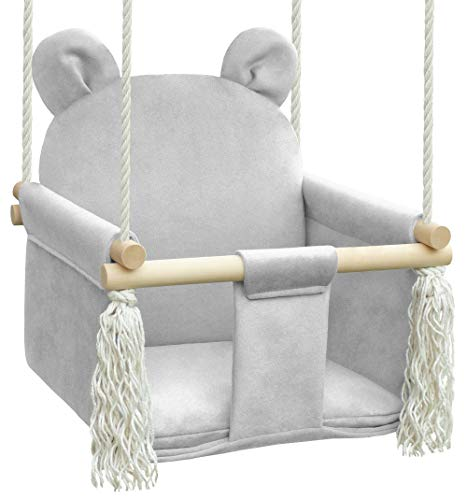 NATILU Balançoire pour Enfant, balançoire pour bébé, balançoire en Bois (Gris Clair)