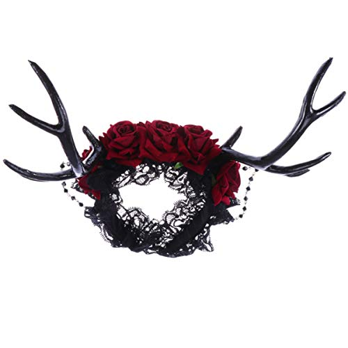 Lurrose Elchhorn hoofdbanden rode roos decor kant hoofdband gothic gewei haaraccessoires voor Halloween Cosplay