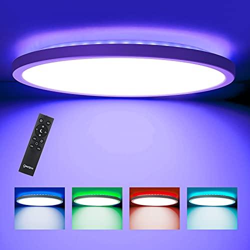 LED Deckenleuchte Dimmbar, Oeegoo Deckenlampe RGB Farbewechsel, 24W 2000LM Led Lampe mit Fernbedienung, 2.5cm Ultraslim Schlafzimmerlampe Kinderzimmerlampe Wohnzimmerlampe, RGB Hintergrundbeleuchtung