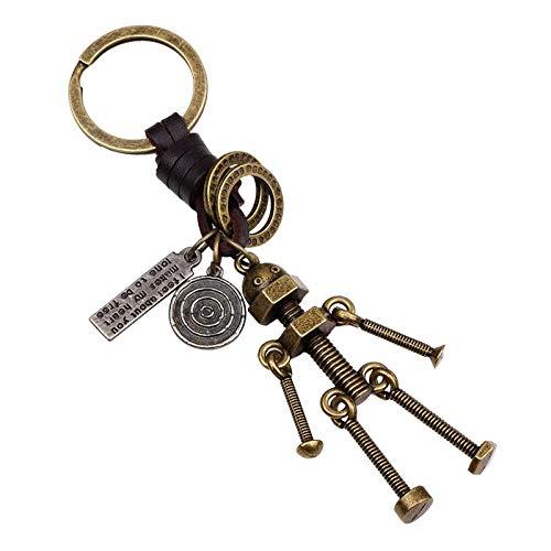 Innovativer Schlüsselanhänger aus geflochtenem Lederseil, Schlüsselring, Legierung, Schraubenroboter