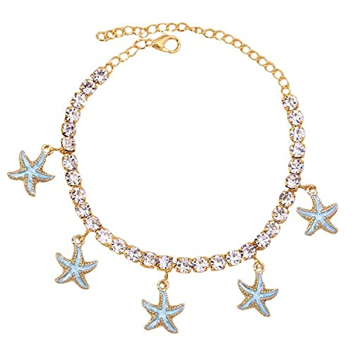 Boho Summer Beach Starfish Sea Star Anklet Body Chain Jewelry Rhinestone Tennis Chain Shell Anklet Bracelet Crystal Shell Anklets Boho Foot Chain Bracelet Rhinestone Leg Bracelet for Women(Blue Starfish)