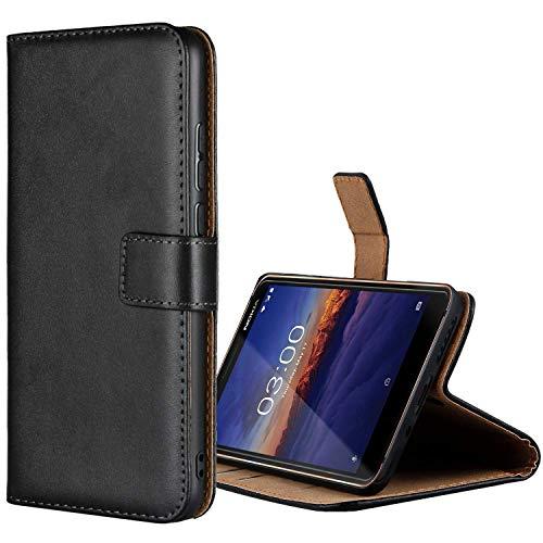 Aopan Nokia 3.1 Hülle, Flip Echt Ledertasche Handyhülle Brieftasche Schutzhülle für Nokia 3.1, Schwarz