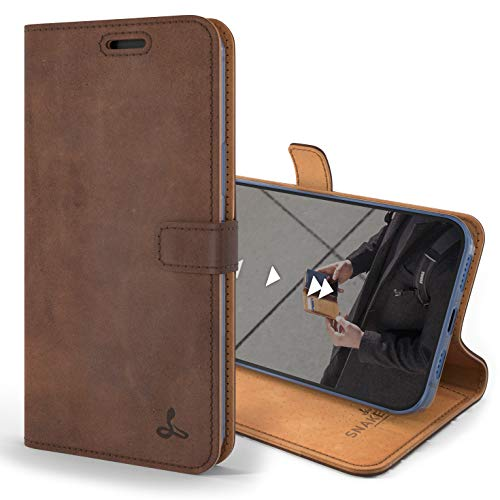 Snakehive iPhone 12 Pro Schutzhülle/Klapphülle echt Lederhülle mit Standfunktion, Handmade in Europa für iPhone 12 Pro (Braun)