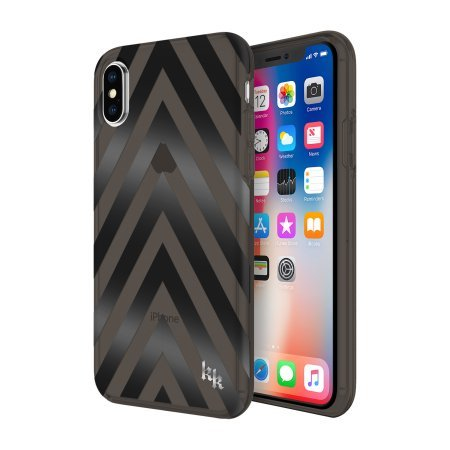 KENDALL + KYLIE Protective Printed Case for iPhone X - Chevron Black/Translucent Smoke