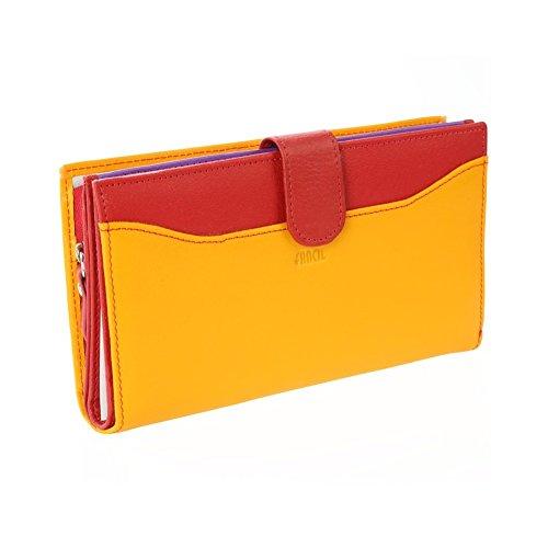 Portefeuille femme / Portefeuille en cuir Jaune / Rouge N1905 Compagnon