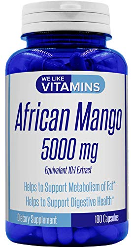 African Mango 5000mg Equivalent 10:1 Extract 180 Capsules - 6 Month Supply of African Mango Capsules – Supports Metabolism of Fat and Digestive Health