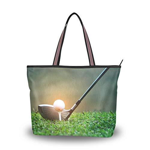 LZXO Damen Tragetaschen Sport Golfball Muster Tote Schultertasche Handtaschen Reißverschluss für Arbeit Outdoor Reisen - Größe: Medium