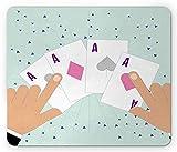 Lunarable Ace of Diamonds Mouse Pad, Illustration of 4 Aces Lucky Deck Casino Cartoon, Rectangle Non-Slip Rubber Mousepad, Standard Size, Pink Deep Sky Blue
