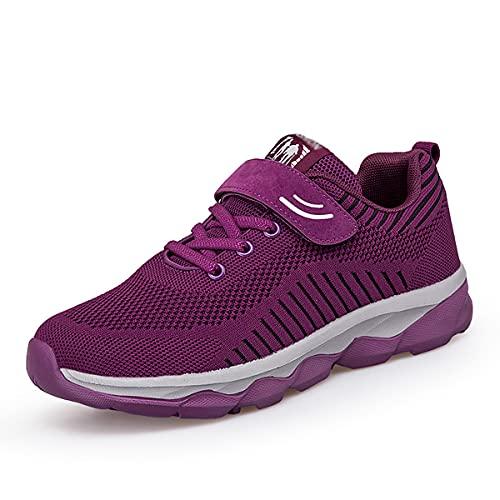 Zapatos para diabéticos,Calzado ortopédico de Mujer,Zapatos para Caminar Antideslizantes Transpirables Tejidos voladores Calzado de Seguridad para Ancianos,Púrpura,36EU