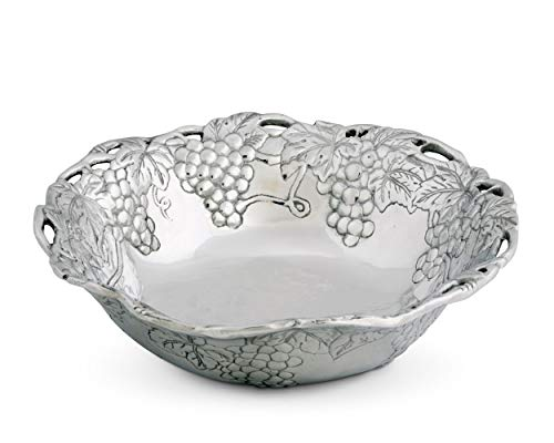 Arthur Court Metal Serving Bowl Grape Pattern Sand Casted in Aluminum with Artisan Quality Hand Polished Design Tanish Free 12 inch diameter