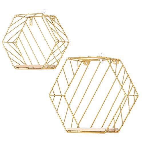Infinite Node Scaffali galleggianti, Mensole Decorative fissate al Muro, Filo di Metallo Esagonale e Legno, Rack di stoccaggio Multiuso per la Decorazione Domestica, Set di 2 (Oro, Righe)