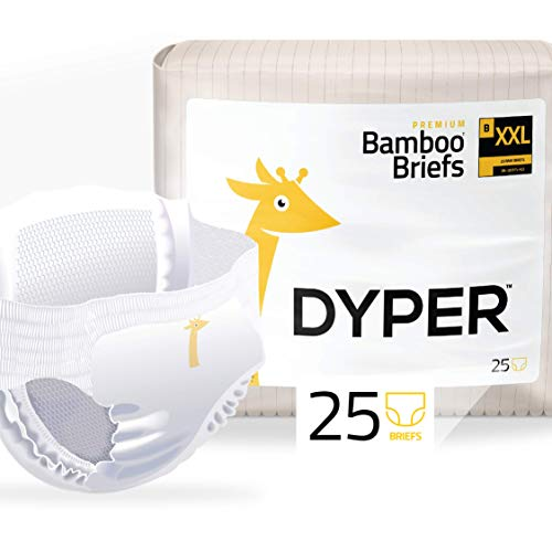 DYPER | Responsibly Sourced Bamboo Pull On Diaper Brief | Ink Free, Soft + Durable | XX-Large | 38+ lbs | 25 Count