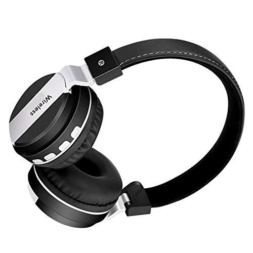 Wsaman Cascos Inalambricos Bluetooth 5.0 Auriculares, Auriculares De Estudio con Cancelación de Ruido, para Correr, Auriculares Inalámbricos de Diadema,Negro