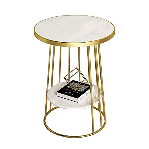 N/Z Life Equipment End Tables Side Table Living Room Round Telephone Table Coffee Table Corner Table Bedroom Bedside Table Marble Table Top and Gold Metal Frame 19.6'x23.6' (Color : Black)
