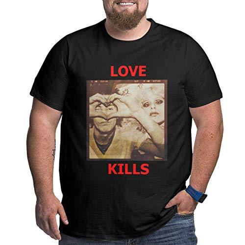 Herren Sid-Nancy Big Size Baumwoll?rmel Kurzes T-Shirt Schwarz X-Large