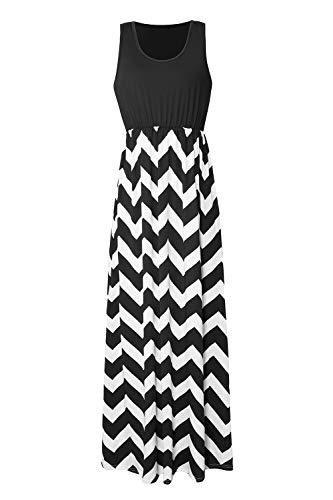 Yidarton Womens Wave Striped Summer Beach Dress Party Long Maxi Dresses Black Medium