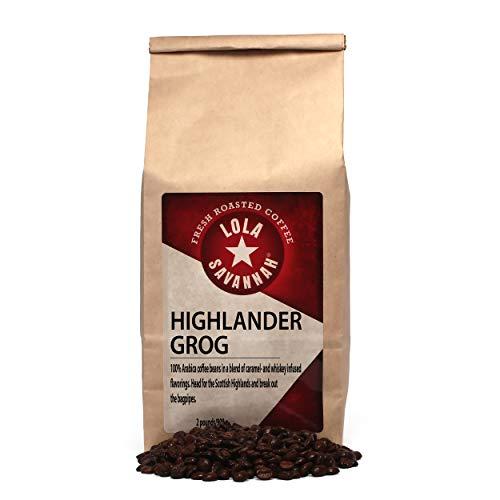 Lola Savannah Highlander Grog Whole Bean Coffee - Taste Of The Scottish Highland Whiskey Blended With Sweet Caramel | Caffeinated | 2lb Bag