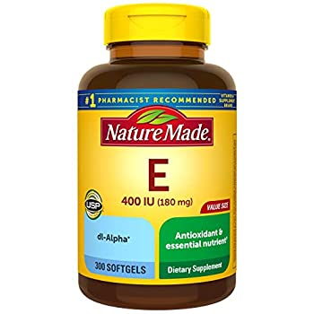 Nature Made Vitamin E 180 mg  400 IU  dl-Alpha Dietary Supplement for Antioxidant Support 300 Softgels 300 Day Supply